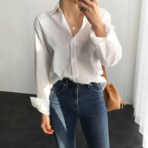 Wixra Spring Summer Hot Fashion Classic Striped Blouse Turn-down Collar Blouses Basic Office Lady Tops Womens Clothing