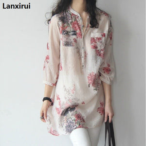 Summer Sheer Thin Women Flower Pattern Long Shirts Blouse Chinese Floral