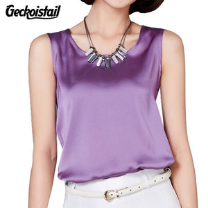 Geckoistail New Silk Women's Blouses Femme Classic Casual Blouse Loose OL Sleeveless Ladies Blusa Feminina Tank Tops For Woman