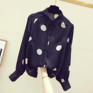 Makuluya Classic Chiffon Modern Sexy Polka Dot Spot Simple Office Lady Casual Women Prairie Chic Blouse Vintage Shirts Tops L6