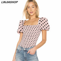 Vintage Womens Tops and Blouses Square Neck Dot Pink Puff Sleeve Shirt Holiday Women Blouse Summer Tops New Arrivals 2019 festa