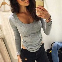 Women Shirt Bodycon Slim Blouses Lady Sexy Casual  Long Sleeve Top Blouse