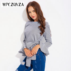WPCZQVZA Classic Striped Women Pullover Female Solid Color Slim Short Shirt