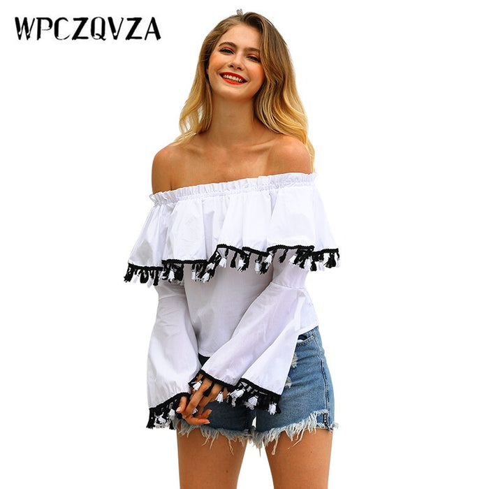 WPCZQVZA New Elegant Slash Neck Women Tassel Blouse Shirt High Quality