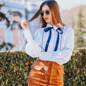 GABERLY Classic Chiffon Lotus Leaf Long Lantern Sleeve V-neck Loose Blouse Shirt Spring Autumn 2018 Blusas Women Blouse tops