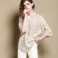 Improved Women Tang Tops Elegant Print Stage Show Clothing