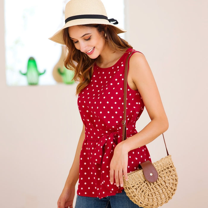 Summer women round neck sleeveless chiffon polka dot print top sweet casual