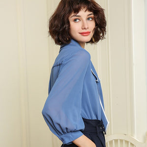 GABERLY Classic Chiffon Mesh Stitching Lantern Sleeve Bow Loose Blouse Shirt Spring Autumn 2018 Blusas Women Blouse tops