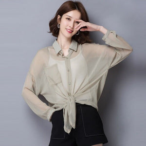 2019 New Women's Shirt Classic Blouse Female Loose Long Sleeve Casual Shirts Lady Simple Style Tops Clothes Blusas 2-piece set