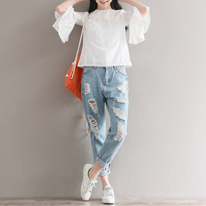 Mori Girl Summer Women Cute White Blouse Round Neck Flare Three Quarter Sleeve Shirts Hollow Out Classical Girls' Blusas