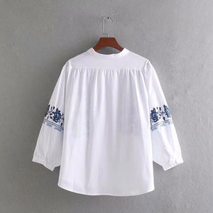 Women's Fashion Blouses Cotton Embroidery Shirts Spring White Tops Floral Front Button Down Slim Shirts Classic Oversized Blouse