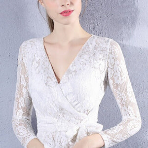 Women Lace Blouse Shirt Solid Casual Tops Sexy Long Sleeve White Blouse Ladies Summer Hollow Out Classic Shirts