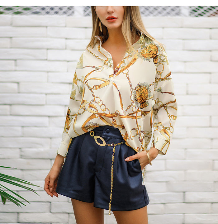 Newon Turn Down Collar Sexy Blouse 2019 Spring Button Up Wrist Sleeve Stylish Shirts Lady Classical Printed Casual Tops KK2038