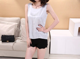 Summer Pure Silk Women's Women Blouses Femme Classic Casual Loose OL Sleeveless Ladies Tank Tops Cheap Clothes China Shirt 7