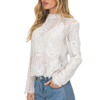 Lace Women's Blouse White Hollow Out Turtleneck Long Sleeve Blouse Slim Top Summer Blouses For Women Elegant Blouse Female