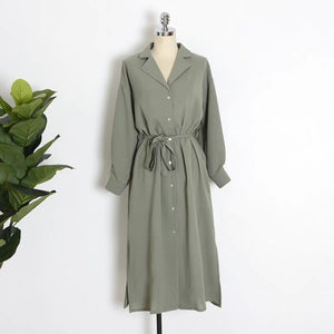 Solid Colored Midi Shirt Dress with Bow Button Up Long Sleeve Spring Summer