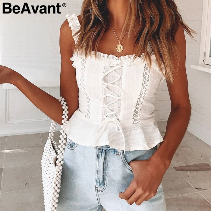BeAvant Vintage white camisole tank top women 2019 Summer style cotton cami top female Lace-up ruffle strap short peplum shirt