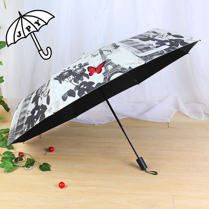 Jiangpanyue Paris Rose Butterfly Sun Umbrella Black Coating UV Parasol Umbrella Rain Women Modest maiden ParapluieParaguas