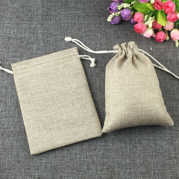 1pcs fashion natural gifts jute bag Cotton thread Drawstring bags jewelry
