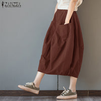 ZANZEA Women Cotton Linen Skirts Pockets Casual Skirt 2019 Summer Midi Skirt Baggy Party Jupe  Faldas Lantern Plus Size