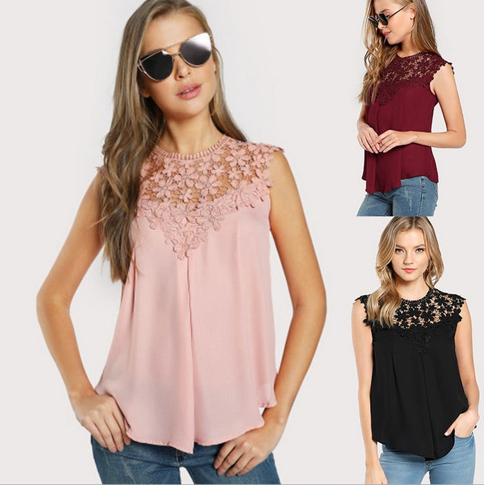 Sleeveless Round Neck Sexy Blouse Keyhole Button Back Daisy Lace Shoulder Shell Top Women Elegant Blouses