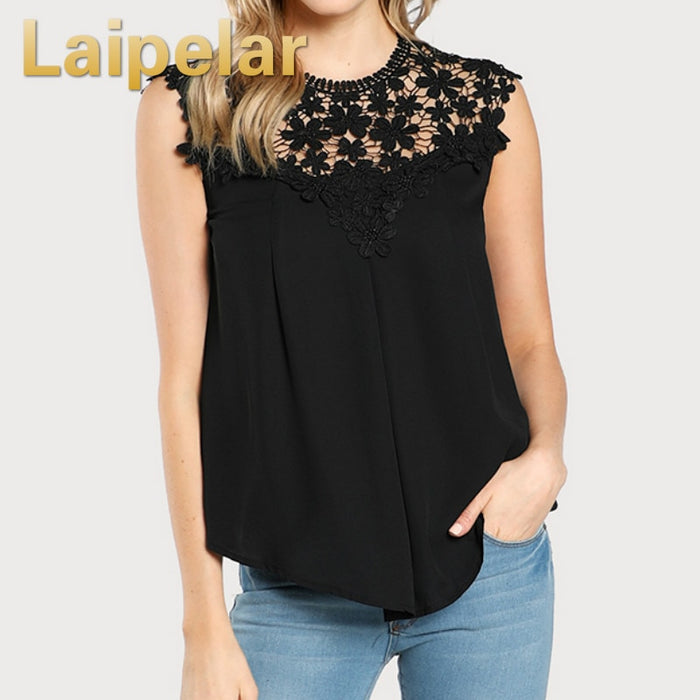 Laipelar Sexy Daisy Lace Shoulder Shell Chiffon Blouses 2018 Summer Keyhole Back Sleeveless Hollow Out Shirts Women Casual Tops