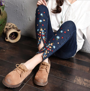 Embroidered Jeans For Women Elastic Flower Jeans Female Pencil Denim Pants