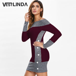 VESTLINDA Knitted Dress Women Color Block Buttons Long Sleeve Off Shoulder Bodycon Dress 2019 Autumn Robe Femme Sweater Dress