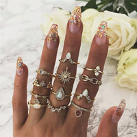 50 Styles Punk Women Hollow Triangle Water Arrow Sun Gem Crystal Silver Rings Set Personality