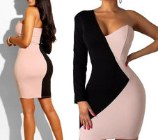2019 Newest Hot Women's Bandage Bodycon Long Sleeve Patchwork One Shoulder Evening Party Club Short Elegant Mini Dress