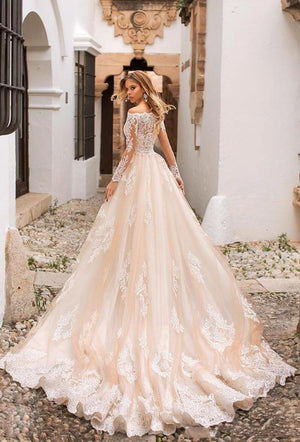 New Amazing Long Sleeves Court Train Appliques Lace Tulle Mermaid