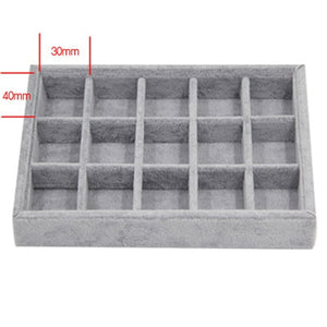 200*150*30mm DIY Jewelry Box Drawer Storage Organizer Gray Soft Velvet Jewellery Earring Necklace Pendant Bracelet Tray 8 Option