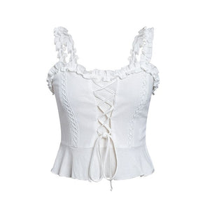 Vintage white camisole tank top women 2019 Summer style cotton cami top female Lace-up ruffle strap short peplum shirt