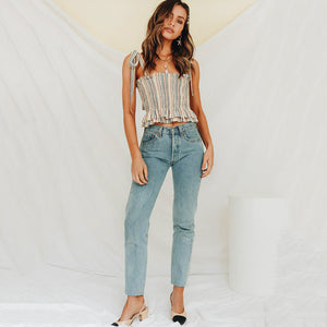 Vertical Striped Cami Top Ruffle Hem Striped Vest Women Casual Slim Fit Peplum Camisole Bow Tube Top Spring Summer Vest