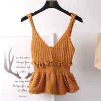 New Arrival Korean Style Cropped Crochet Top Cute Peplum Knitted Tank Tops Women 9 colors