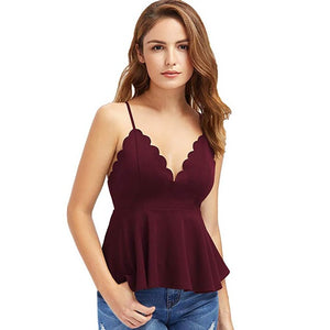 2019 NEW Women Sexy V Neck Backless Sleeveless Tank Blouse Scalloped Peplum Top T-shirt 2.23