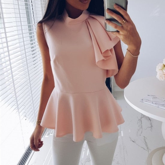 Fashion Women Shirt Stand Collar Sleeveless  Blouse Ruffles Top