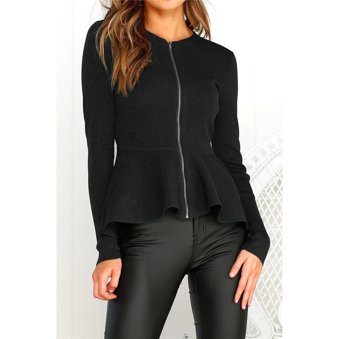 Womens fashion zip peplum ruffle plus size tailored blazer jacket top ladies O neck long sleeve blouse