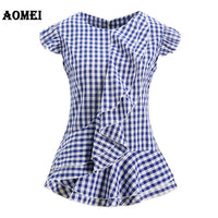 Summer Tops Lady Sleeveless Black Plaid Blouses Shirts Ruffles Trim Woman Vintage Gingham Blusas Plus Size Retro Peplum 2019 New