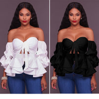 Slash Neck Sweetheart Off Shoulder Women Shirts Lantern Sleeve Hollow Out Bow Tied Peplum Blouse Ruffles Sexy Summer Top 2018