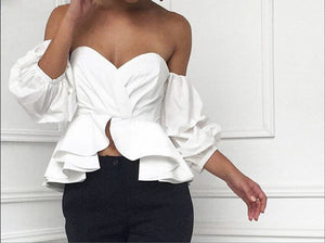 Fashion Women Off Shoulder Puff Sleeve Ruffle V-neck Peplum Crop Tops Summer Loose Strapless Casual Solid Color Shirts Blouse