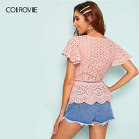 COLROVIE Pink Flutter Sleeve Button Elegant Peplum Schiffy Top Women Blouse