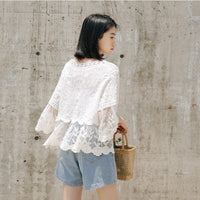 White Cotton Lace Blouse Embroidery Summer Top Peplum Ruffle Korean Beach Kimono Womens Tops And Blouses 2019 Boho Mesh Clothes
