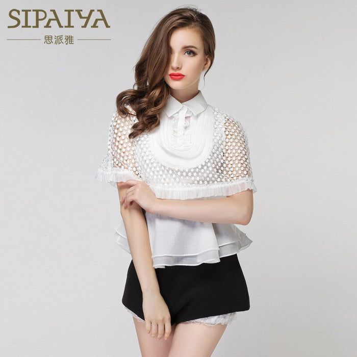 Brand New Autumn Elegant White Ruffle Blouses Retro Lace Shawl Shirt Hollow