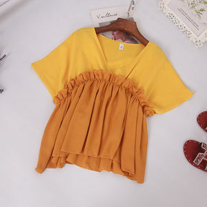 Peplum Top Summer Blouse Boho Kimono Ruffle Shirt Crop Patchwork Womens Tops And Blouses Blusas Mujer De Moda 2019 Korean Tunic