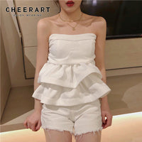 Cheerart Slash Neck Blouse Womens Summer Ruffle Tops