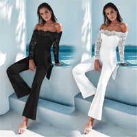 Adogirl Sexy Lace Off The Shoulder Bodysuit Woman Casual Patchwork Backless Low Out Skinny Jumpsuit Romper Body Top Clothes Lady
