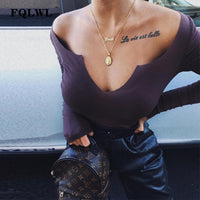 FQLWL Off Shoulder Long Sleeve Sexy Bodysuit Women Tops Playsuit Kintted Black Bodycon Autumn Winter Women's jumpsuits Rompers