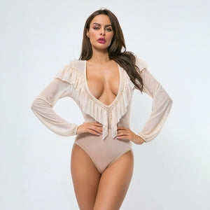 transparent mesh bodysuit plus size rompers for women summer sexy deep v neck sheer bodysuit tops ruffle one piece outfit P6604A