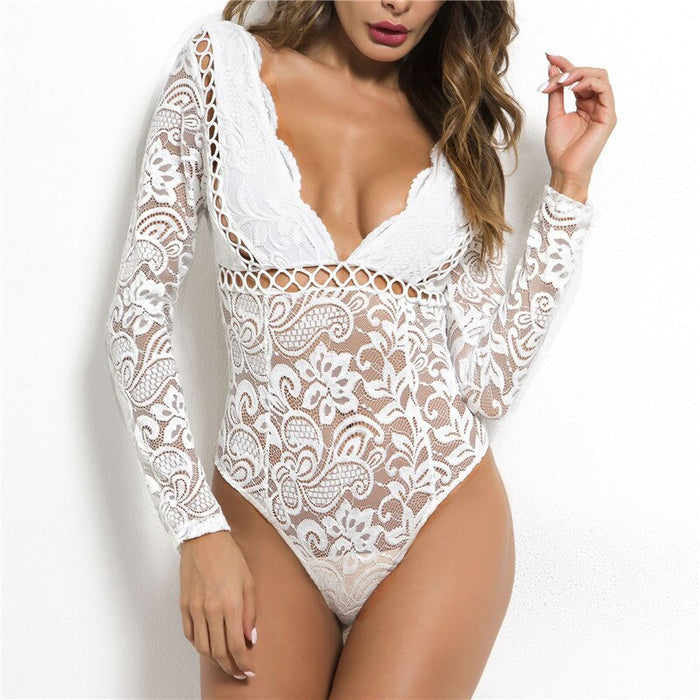 Sexy Black Lace Bodysuits Women Summer Rompers 2019 Autumn Sexy Backless Long Sleeve Top Short Jumpsuits GRNSHTS
